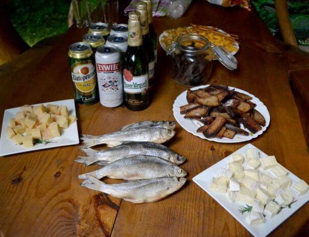 Банное меню пиво сыр сухари вобла рыба